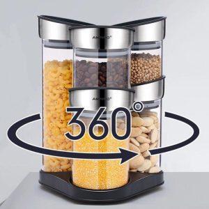 Decopatent® 6 Delige SET Voorraadpotten van Glas met Rvs Deksels - Carrousel - 360° draaibaar - Luchtdichte glazen - Voorraadbus