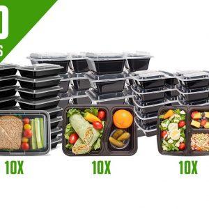 Meal Prep Bakjes - 30 stuks - Alles in één set - 1, 2 en 3 compartimenten - Mealprep Containers - Vershoudbakjes met deksel - BPA Vrij - 1L - Zwart