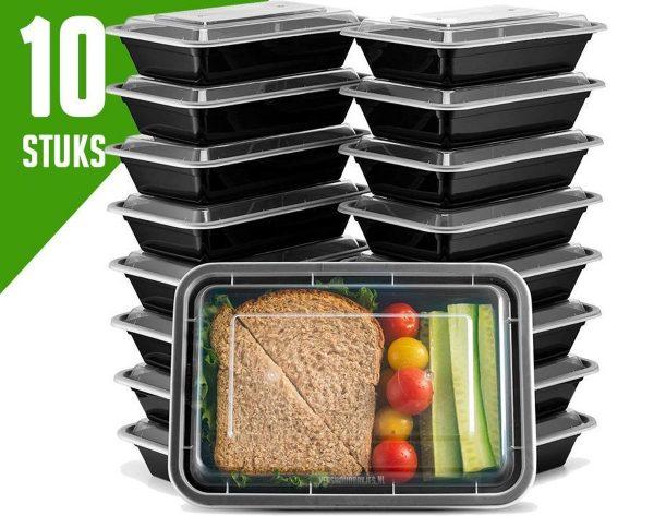 Meal Prep Bakjes Vershouddoos - 10 stuks - Met 1 Compartimenten - Herbruikbaar