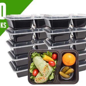Meal Prep Bakjes Vershouddoos - 10 stuks - Met 2 Compartimenten - Herbruikbaar