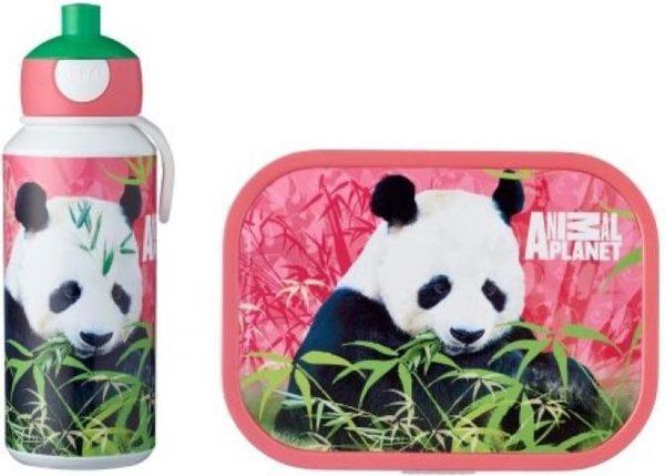 Mepal Campus Lunchset - pop-up drinkfles en lunchbox - Animal Planet Panda - Roze