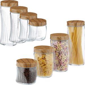 relaxdays 8 x voorraadpotten - glazenpotten - voorraadbussen - snoeppot - opbergpot - glas