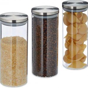 relaxdays voorraadpot set glas 1.5 liter - voorraadbus - glazen pot met deksel - 3 stuks