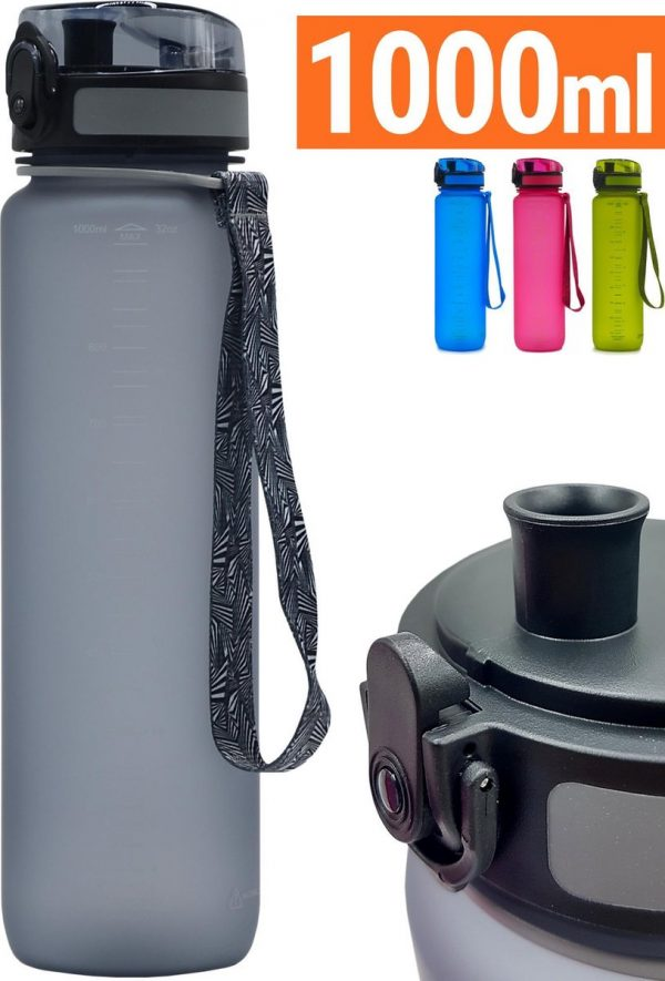 Drinkfles 1 Liter - Sport Drinkbus 1000 ml Bidon Grijs - King Mungo KMDF010
