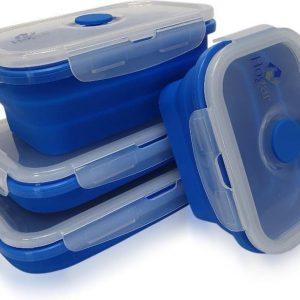 Hogar Luxe Vershoudbakjes | Siliconen | Inklapbaar | Set van 4 | BPA vrij | Vershouddoos | Meal prep bakjes | Diepvriesbakjes | Anti lek deksel