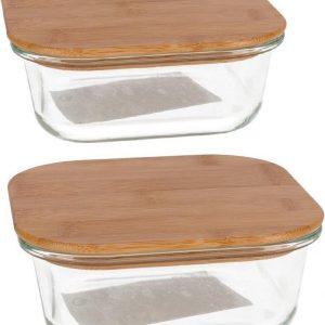 Set van 4x stuks voedsel bewaarbakjes van ovenbestendig glas vierkant - 2x 1100 ml en 2x 750 ml