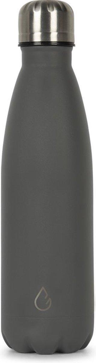 Wattamula Design eco RVS drinkfles - donkergrijs - 500 ml - waterfles - thermosfles - sport