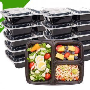 Meal Prep Bakjes Vershouddoos - 10 stuks - Met 3 Compartimenten - Herbruikbaar