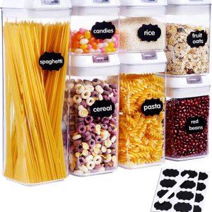 Voorraadpotten set - Luchtdicht | 7 STUKS | voorraadbussen| Voedsel bewaren |aardewerk | deksel | Airtight Food Storage | Luchtdichte containers voor voedselopslag | Keukenopslagcontainers | Luchtdichte containers voor voedselopslag