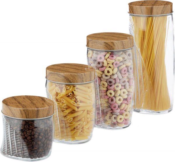 relaxdays voorraadpotten - glazenpotten - voorraadbussen - snoeppot - opbergpot - glas