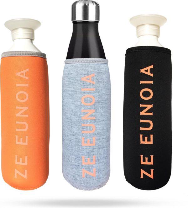 Drinkfles Houder Drinkfles Tas Bottle Pouch | flessenhouder | Drinkfles Hoes | Zwart, Grijs en Oranje
