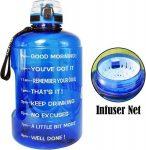 Drinkfles met Tekst - Waterbidon Buildlife 2.2 liter - Waterfles Quifit - Drinkflessen Volwassenen - Waterfles met Fruit Filter - Sportfles Blauw