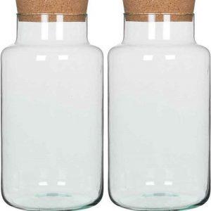 2x stuks glazen voorraadpotten/snoeppotten transparant met deksel H36 cm x D19 cm- bewaarpotten/voorraadbussen