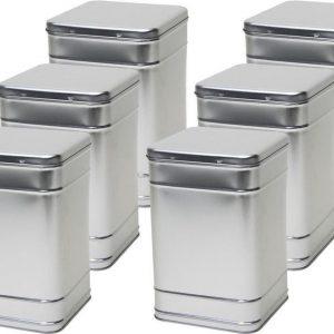 6x Zilveren vierkante opbergblikken/bewaarblikken 25 cm - Zilveren voorraadblikken - Voorraadbussen