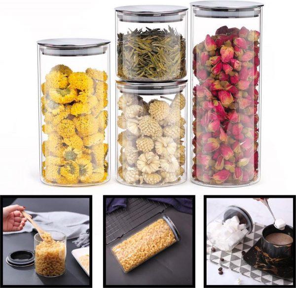Decopatent® 3 Delige SET Voorraadpotten van Glas met RVS Deksel - Luchtdichte Deksels - Glazen voorraad potten - Voorraadbussen