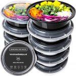 Ronde Meal Prep Bakjes - 10 Stuks - Herbruikbaar - Mealprep Containers met deksels - Lek vrij - Saladebakjes - Vershoudbakje - BPA vrij - Magnetronbakje - Diepvriesbakje - Koelkastbakje - Pokebowl - 850 ML - Zwart
